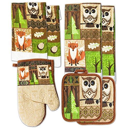 Kitchen Towel Linen Set Of 7 Pieces Owl Design | 2 Kitchen Towels 2  Potholders, 1 Oven Mitt And 2 Dishcloth (Brown Owls)