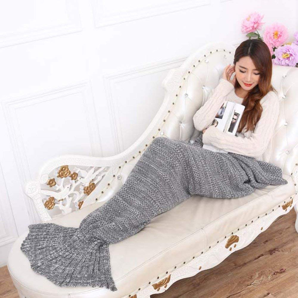 LIUCS Handmade Crochet Mermaid Tail Blanket, Birthday Gifts for Women Girls Soft Woolen Fish Tail Blankets Spring, 195 x 95 cm (Grey)