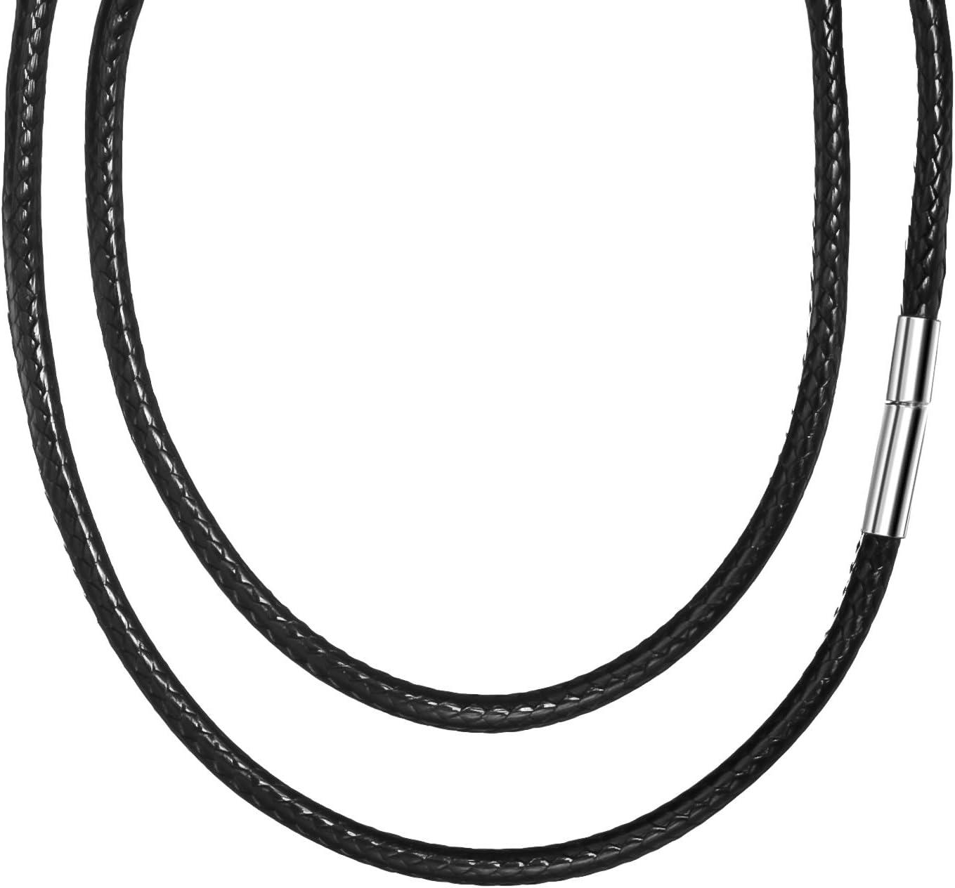 3 mm Collar de cuero de ancho para hombre sin colgante, sintético negro cordón de cera, collar trenzado pulsera de cadena de cordón de cuero, collar con cierre de acero inoxidable para damas 60 cm