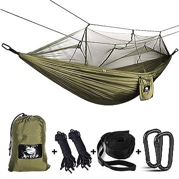 ec68ca4c0 Anyoo Hamaca para Acampar con mosquitero Cama de Tela de Nylon de Paracaida  Ligera Portatil para Viajar Excursionismo Mochilero de Viaje Cuerdas y ...