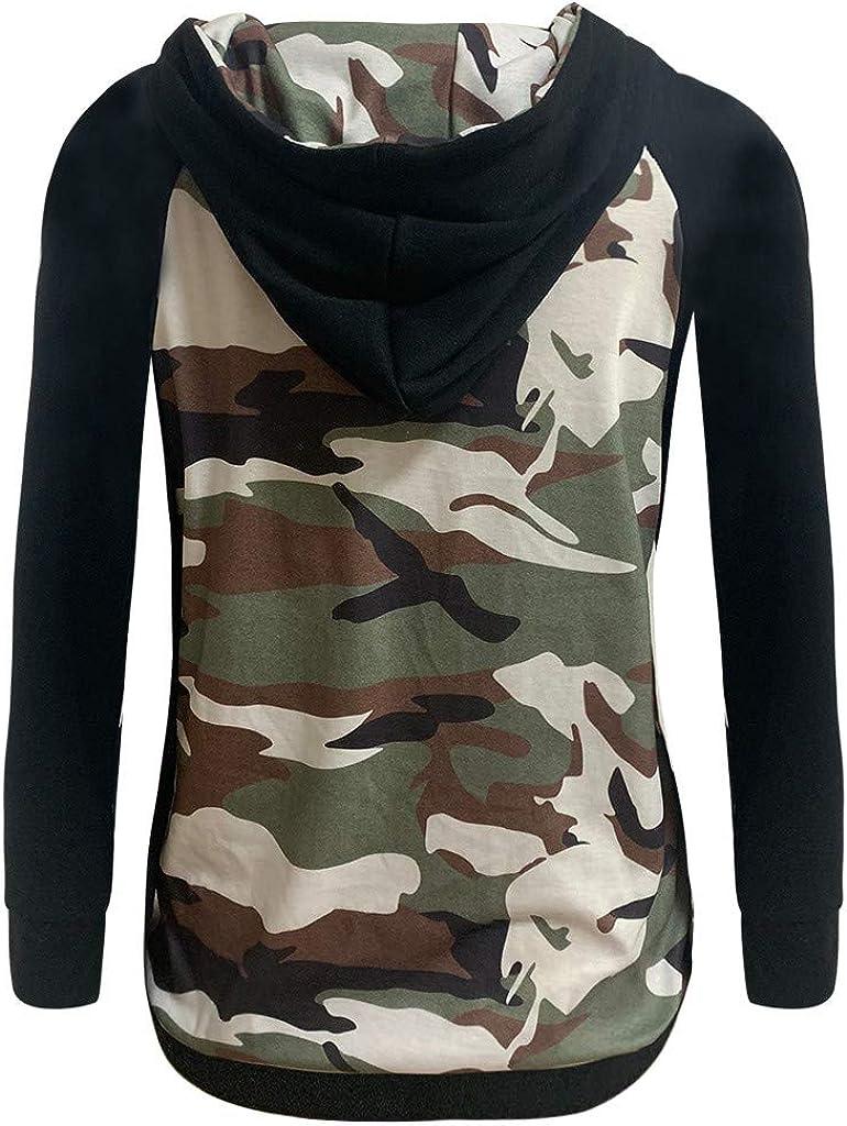Shenye ❤️❤️ Damen Tops T-Shirts Swing Blusen Tunika Casual Lange /Ärmel Frauen Herbst O-Neck Langarm Camouflage Print Kapuzenpullover Bluse Tops