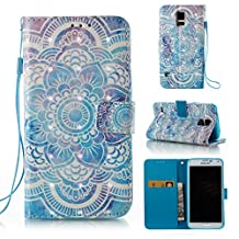 Galaxy S5 / S5 Neo Case, Ssenlin 3D Painted PU Leather Mandala Wallet Case with Card Slots Stand Magnetic Flexible TPU Bumper Protective Phone Case Flip Cover For Samsung Galaxy S5/S5 Neo G900