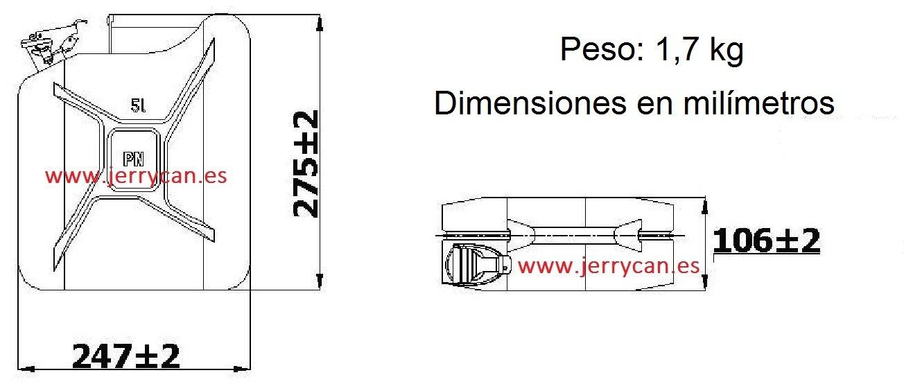 JERRY CAN, BIDON METALICO 5L CAMUFLAJE VERDE MILITAR PROTEGIDO CON EXPLOSTOP (ANTIEXPLOSIVO) -- HOMOLOGADO PARA EL TRANSPORTE DE GASOLINA - SPP/JC5CM-EXP: ...