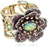 Betsey Johnson Womens Blooming Betsey Flower Hinge Statement Bracelet, Multi, One Size