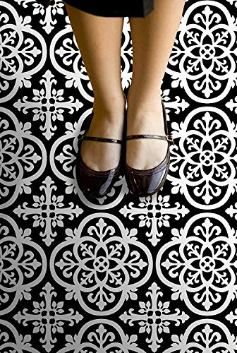 FloorPops FP2475 Gothic Peel & Stick Tiles Floor Decal Black (Twо Pаck) by FloorPops (Image #1)