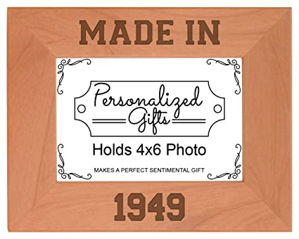 ThisWear 70th Birthday Gift Made 1949 Milestone Natural Wood Engraved 4x6 Landscape Picture Frame