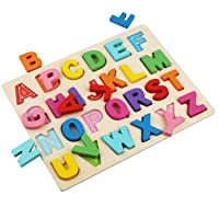 Wooden Alphabet Puzzles, ABC Puzzle Board for Toddlers 3-5 Years Old, Preschool...