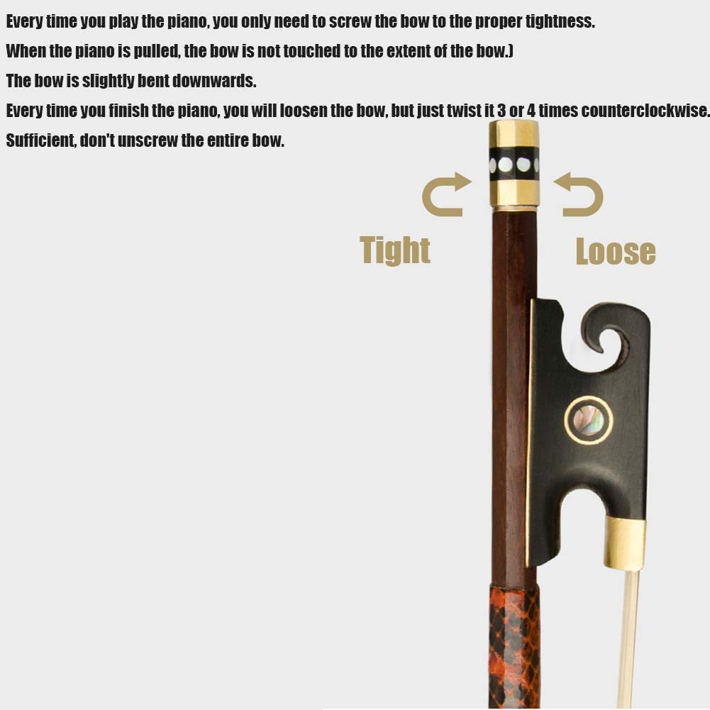 LVSSY-French Violin Bow Ponytail Performance Brazilian Red Sandalwood Pole,Hard,Straight,Flexible Professional Playing Violin Bow
