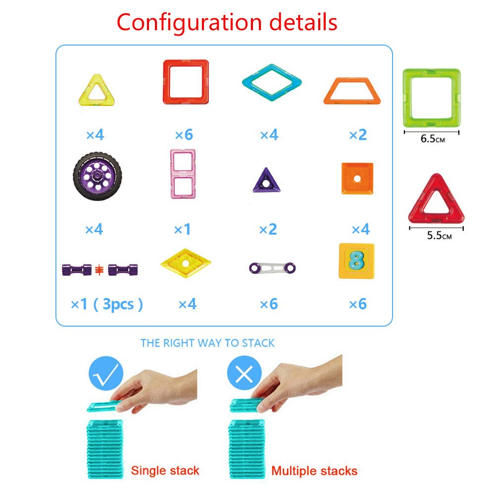 xinbida Magnetic Blocks Set-Magnetic Tiles Building-Educational Toys for Kids-3D Constrtuction Modle-Best Gift for Toddler (46PCS) by xinbida (Image #4)