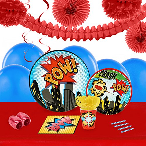 BirthdayExpress Superhero Comics Party Supplies - Tableware and Decoration Party Pack for 16 (Comic Book Pop Art Costume)