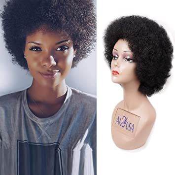 Short Afro Wigs Fluffy Yaki Hair Heat Resistant