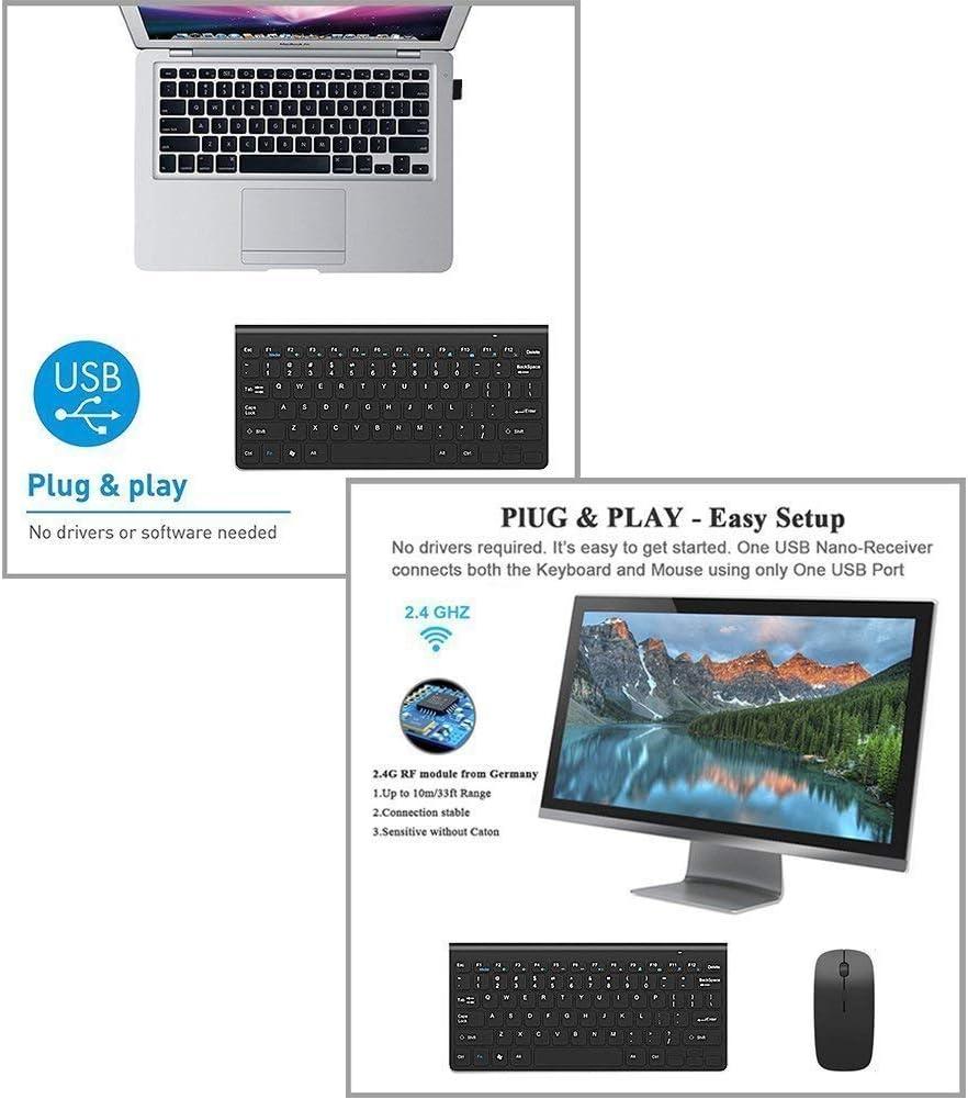 Teclado y mouse inalámbricos, Combo de mouse y teclados inalámbricos portátiles Ratón ajustable de tamaño completo 2.4G DPI silencioso para Windows, ...