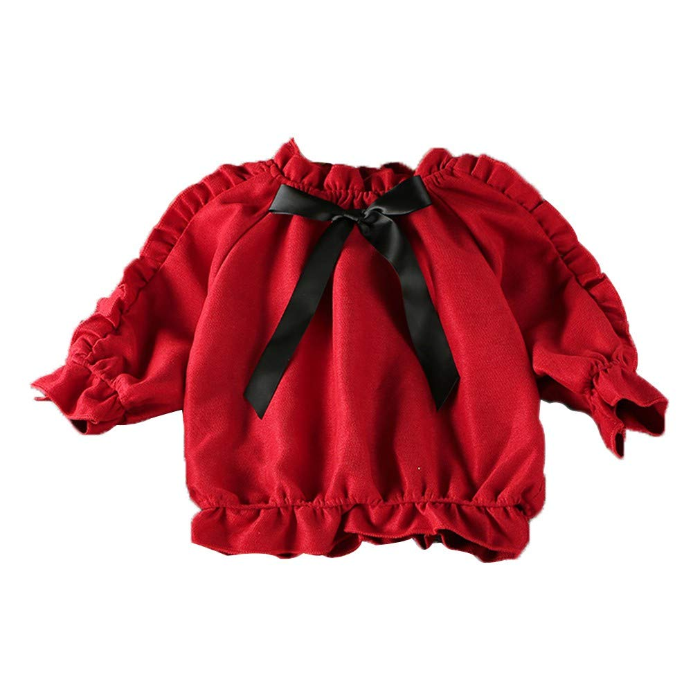 Miyanuby Baby Girls Pullover Sweatshirt Cotton Crewneck Cute Bowknot Flower Sleeve T Shirt Blouse Tops 1-6 Years Girls Clothes