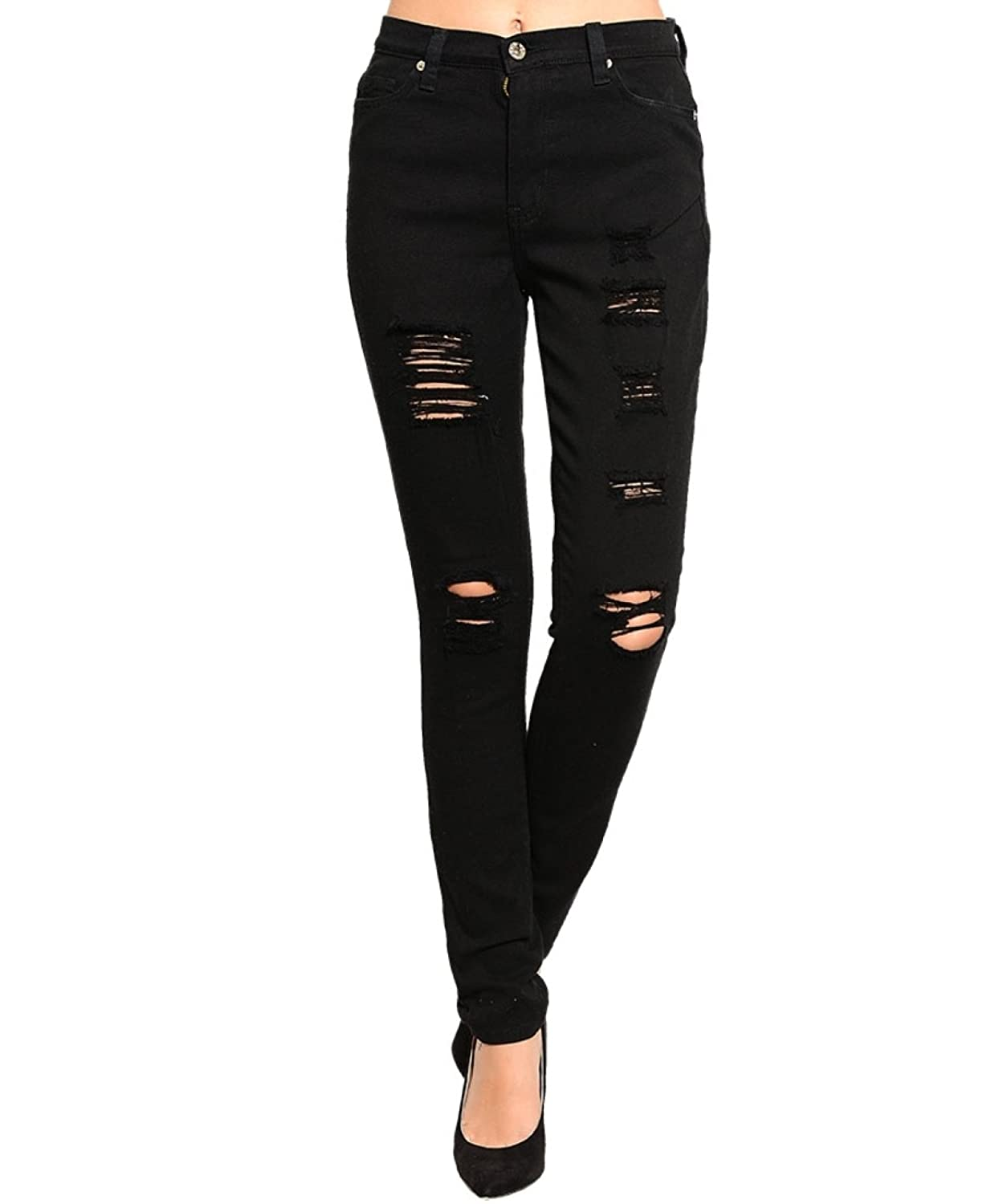 2LUV Women'sHigh Waisted Distressed Skinny Jeans Black 11 (P1123)