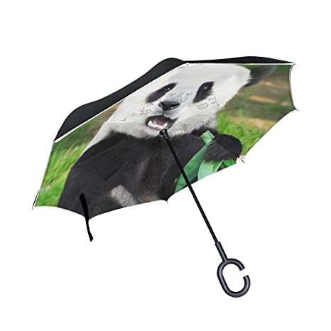44d75dc82180 Amazon.com : PNGLLD Animal Panda Funny Reverse Folding Umbrella ...