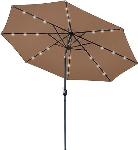 ANA Store Tan Field Day-All-Night Utility Sunshade 10FT Park Solar Umbrella 24 LED Grass Beach Market Decoration Steel Tilt