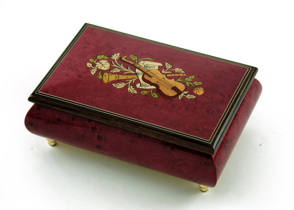 Astonishing Handcrafted Red Wine Musical Instrument Theme Wood Inlay Music Box - Music of the Night (Phantom of the Opera) by MusicBoxAttic