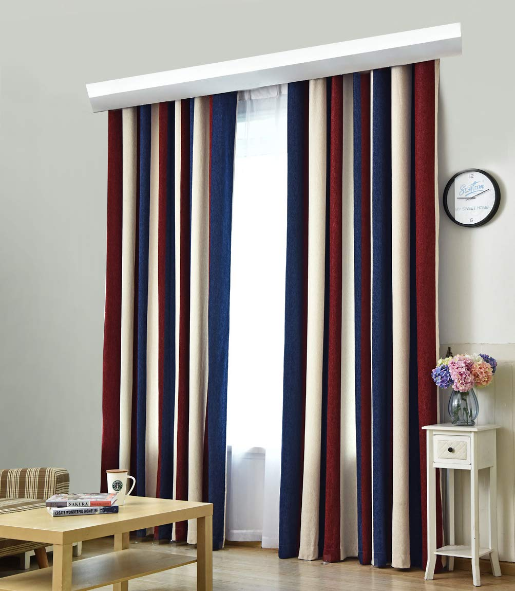 High Grade Thicken Thermal Insulated Vertical Stripes Window Curtain Rod Pocket Panel Draperies Treatment for Living Room Dining Room and Bedroom-001(2 Panels, W 50 x L 63 inch, Red)