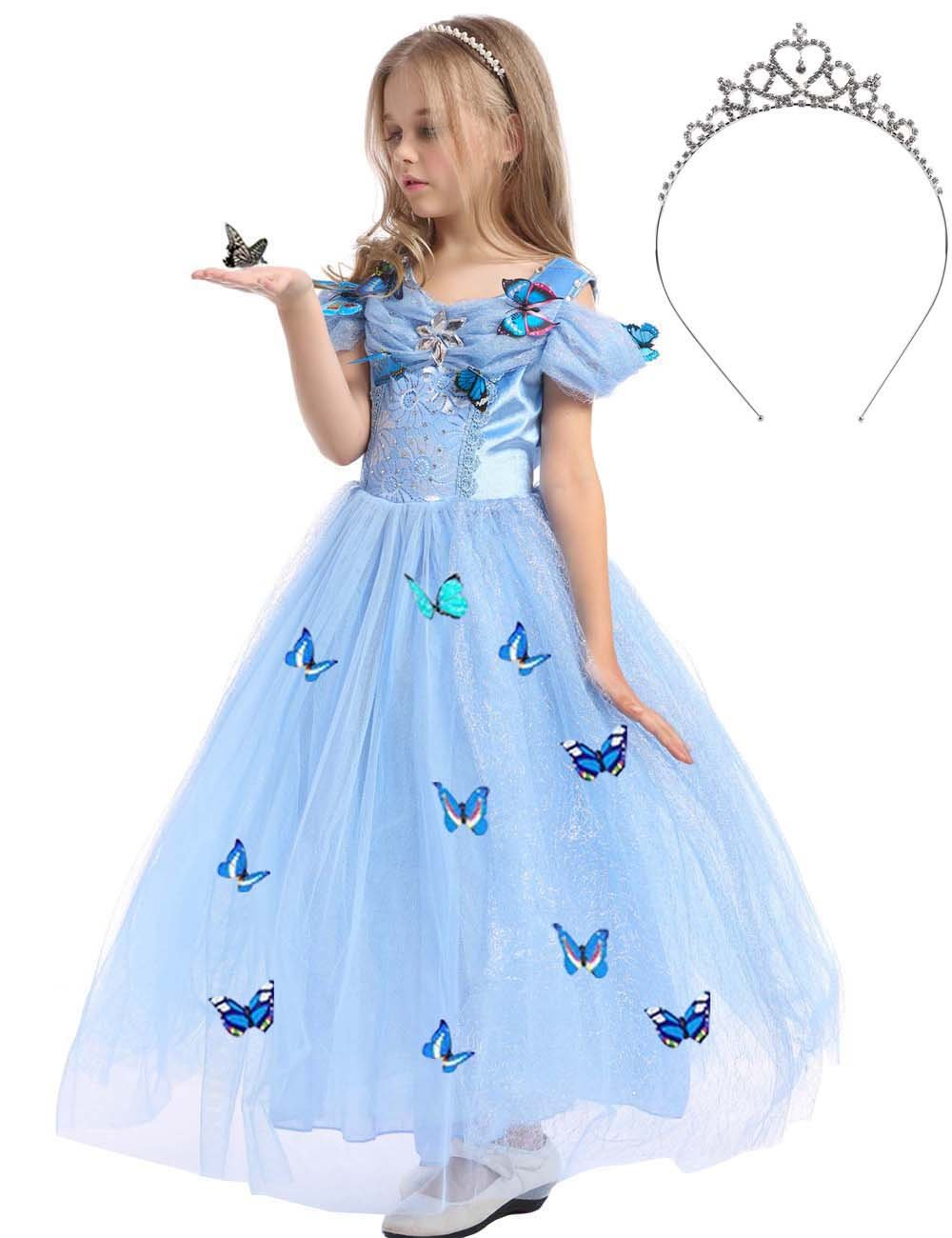 JYH Girls' New Cinderella Princess Sleeveless Dress Butterfly Party Costumes with Crown