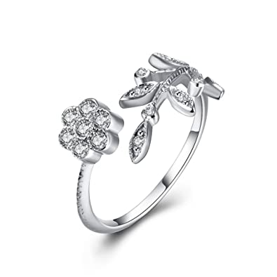 HMILYDYK 925 Sterling Silver Women Rose Detailed Rings Classic Vintage Flower Engagement Ajustable Band 7rwhUYH54i