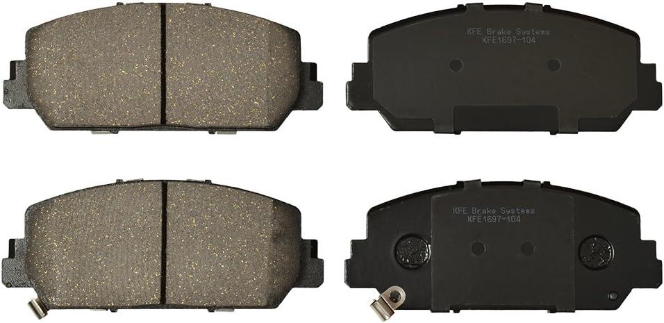KFE KFE1697-104 Ultra Quiet Advanced Premium Ceramic Brake Pad FRONT Set Compatible With RLX 2016-2017 Honda Accord Sport or Touring; Acura ILX RDX
