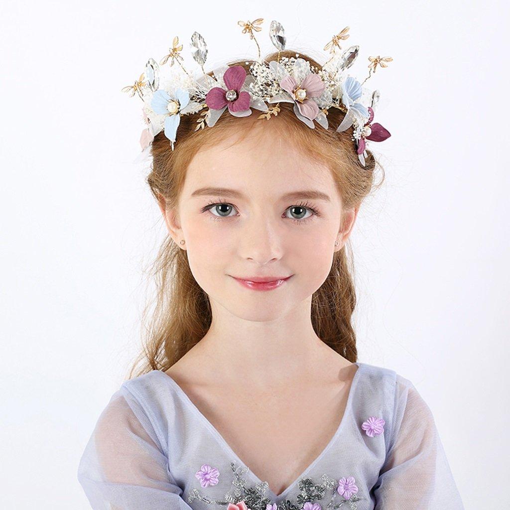 Wreath Flower, Girl Hair Ornaments Headband Accessories Child Princess Headdress (Color : Multi-Colored)