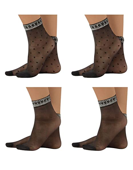 9ca02a935eb80 CALZITALY 4 Pairs of Socks with Silver Lurex and Hearts or Polka ...