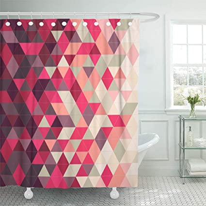 Emvency Shower Curtain Colorful Bright Red And Green Abstract Triangular Orange Color Curtains Sets With