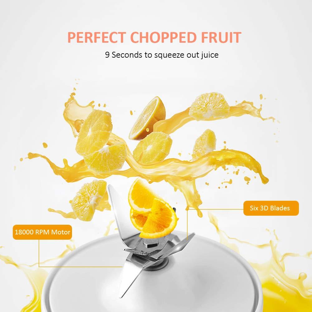 BAOHUI Licuadora Portátil, Mini licuadora de Frutas Mini Batidora Electrica con 6 Cuchillos de Acero para Smoothies Zumos de Fruta y Verdura, ...