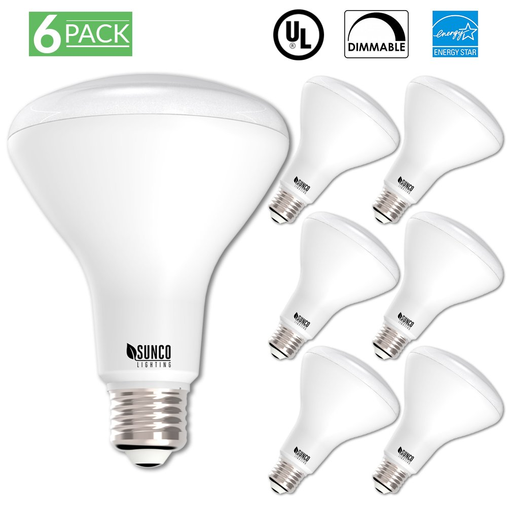 Sunco Lighting 6 Pack BR30 LED Light Bulb 11 Watt (65 Equivalent) Flood Dimmable 2700K Kelvin Soft White 850 Lumens Indoor/Outdoor 25000 Hrs For Use In Home, Office And More, UL & ENERGY STAR LISTED