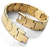 MunkiMix Stainless Steel Bracelet Link Gold Greek Men
