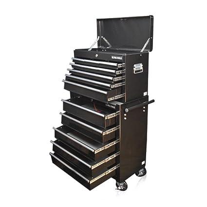 US Pro Tools - Carro para herramientas con ruedas en color negro brillante, con 9