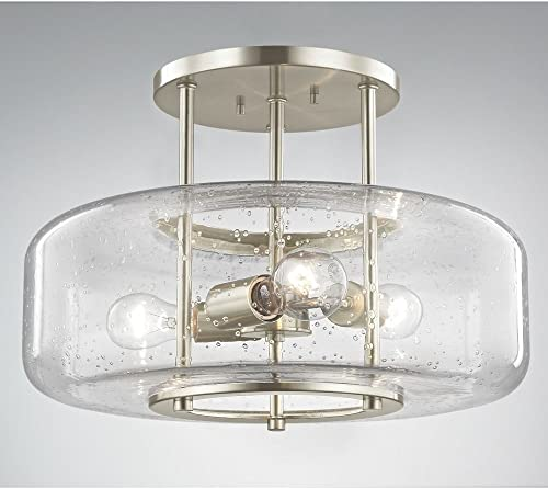 Modern Seedy Glass Semi-Flush Satin Nickel Finish