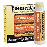 Beessential All Natural Orange Ginger Lip Balm 4 pack - Heals and Prevents Dry and Chapped Lips – Great for Men, Women, and Children – Moisturizing Beeswax, Coconut, Shea and Cupuacu Butter