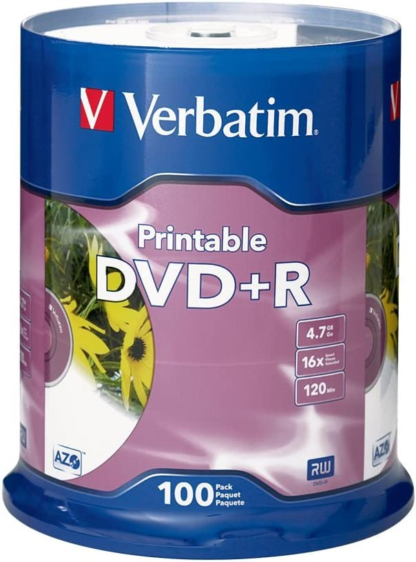Verbatim DVD+R 4.7GB 16X White Inkjet Printable - 100pk Spindle