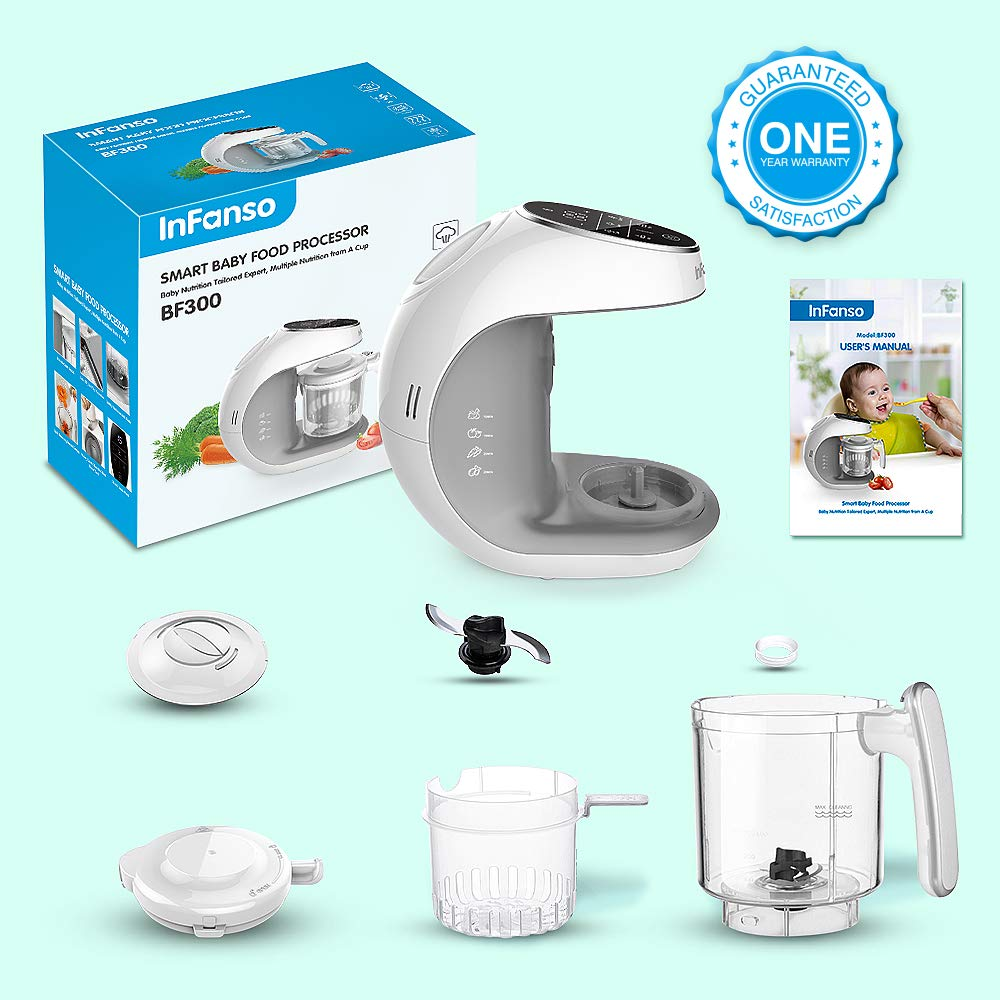 Infanso Baby Food Maker Food Processor BF300 for Infants and Toddlers 7 in 1 Organic Food Making Machine with Steam Cooker, Blender, Chopper, Defroster, Reheater, Disinfector and Auto Cleaning by InFanso (Image #8)