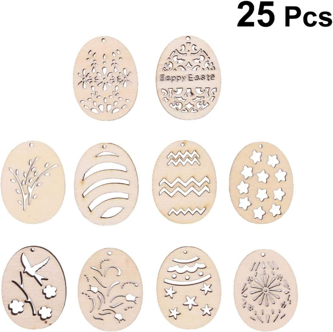 25pcs Wooden Cutouts Easter Eggs Shape Art DIY Painting Craft Accessories