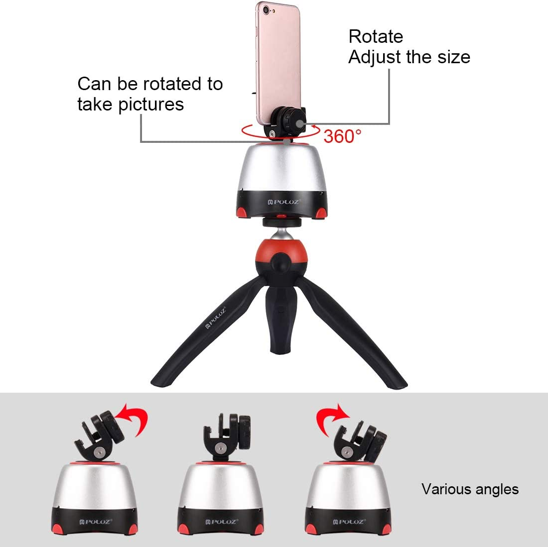 Lightweight Tripod Monopod for Smartphones GoPro Red and DSLR Cameras Under 1kg 2.2lb Loboo Idea Camera//Smartphone Tripod Monopod with 360 Degree Rotating Electronic Panorama Tripod Head