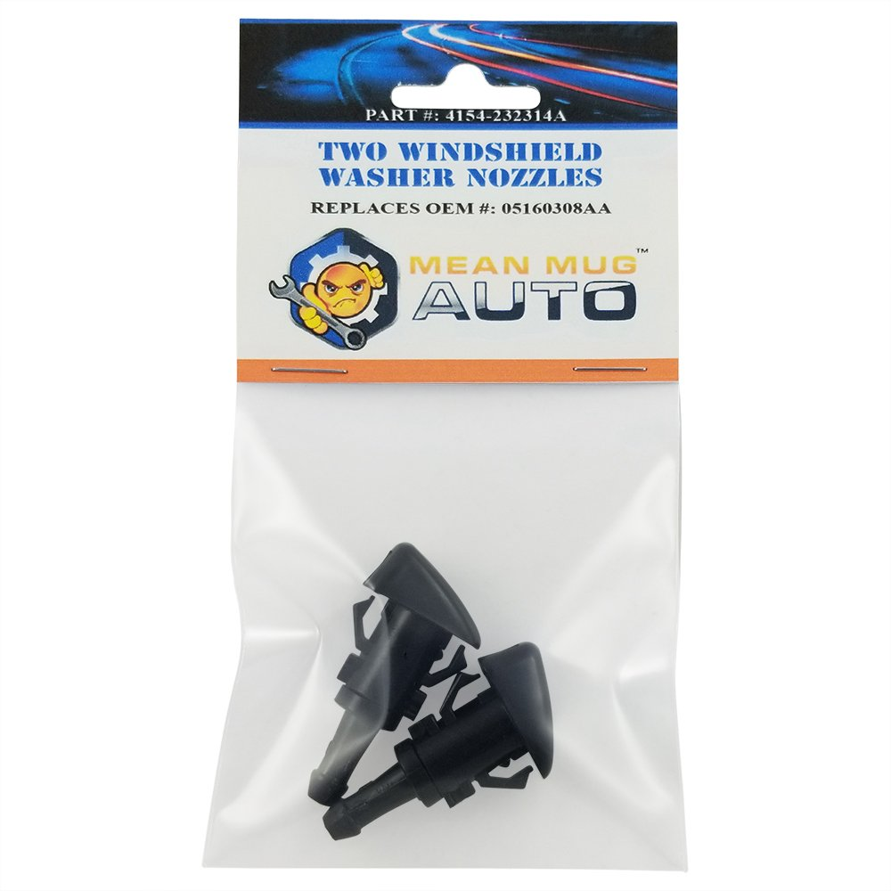 For: Dodge Caliber Mean Mug Auto 4154-232314A Two Replaces OEM #: 05160308AA Front Windshield Washer Nozzles