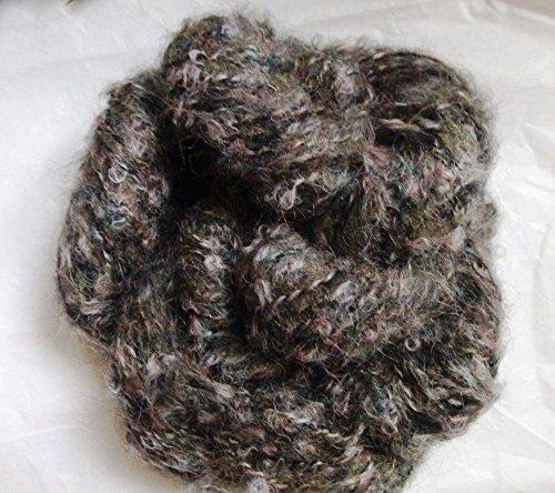 Fuzzy Black Gray Lavender Mohair Blend Loop Boucle Yarn