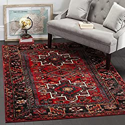 "Safavieh Vintage Hamadan Collection VTH211A Antiqued Oriental Red and Multi Area Rug (5'3"" x 7'6"")"