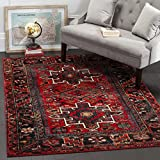 Safavieh Vintage Hamadan Collection VTH211A Antiqued Oriental Red and Multi Area Rug (5'3' x 7'6')