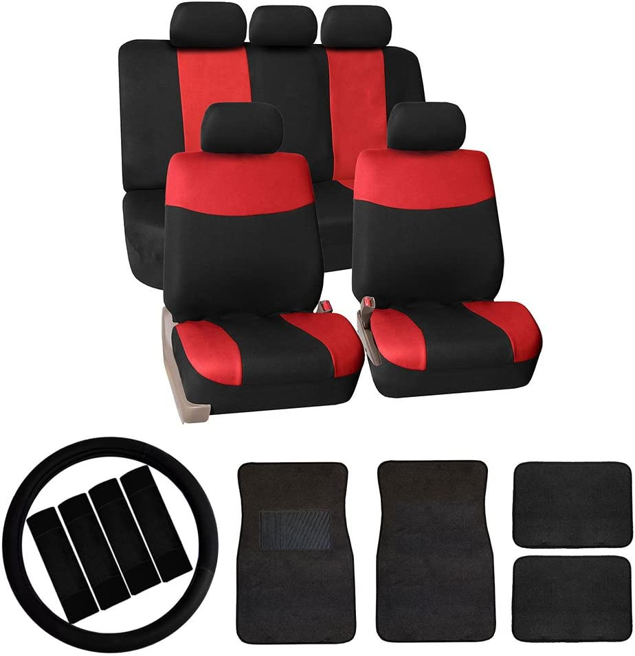 FH Group FB056114 Modern Flat Cloth Car Seat Covers Combo Set: F14403 Carpet Floor Mats, Steering Wheel Cover, Seat Belt Pads, Red/Black- Universal Fit for Trucks, SUVs, and Vans