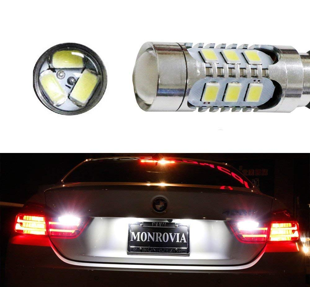 iJDMTOY (2) Super Bright 15-SMD Xenon White CAN-bus LED Backup Reverse Light Bulbs For 2014-up BMW 4 Series 420i 428i 435i M4 (F32 F33 F36 F82) iJDMTOY Auto Accessories For BMW 4 Series F32 F33 F36 F82