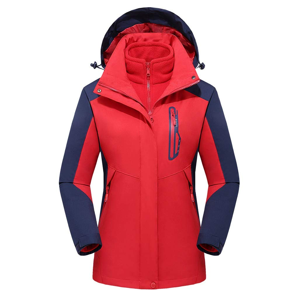 Pandaie Women 3 in 1 Jacket Hooded Detachable Warm Liner Waterproof Windproof Winter Outdoor Ski Windbreaker Raincoat Red by Pandaie