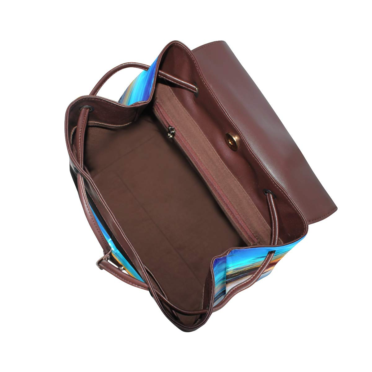 KEAKIA Women PU Leather Morning Sunrise Backpack Purse Travel School Shoulder Bag Casual Daypack