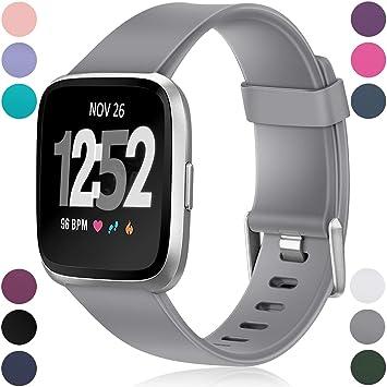 Wepro - Correa de Repuesto para Fitbit Versa para Reloj Inteligente Fitbit Versa, Color Gris: Amazon.es: Deportes y aire libre