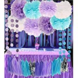 Purple Lilac Blue White and Silver 26pcs Party Decoration Set by Cherry Down