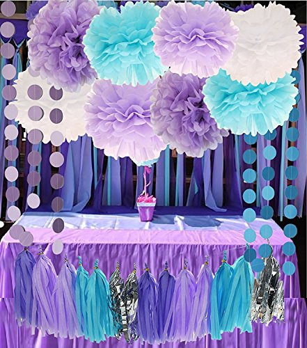 Purple Lilac Blue White and Silver 26pcs Party Decoration Set by Cherry Down -