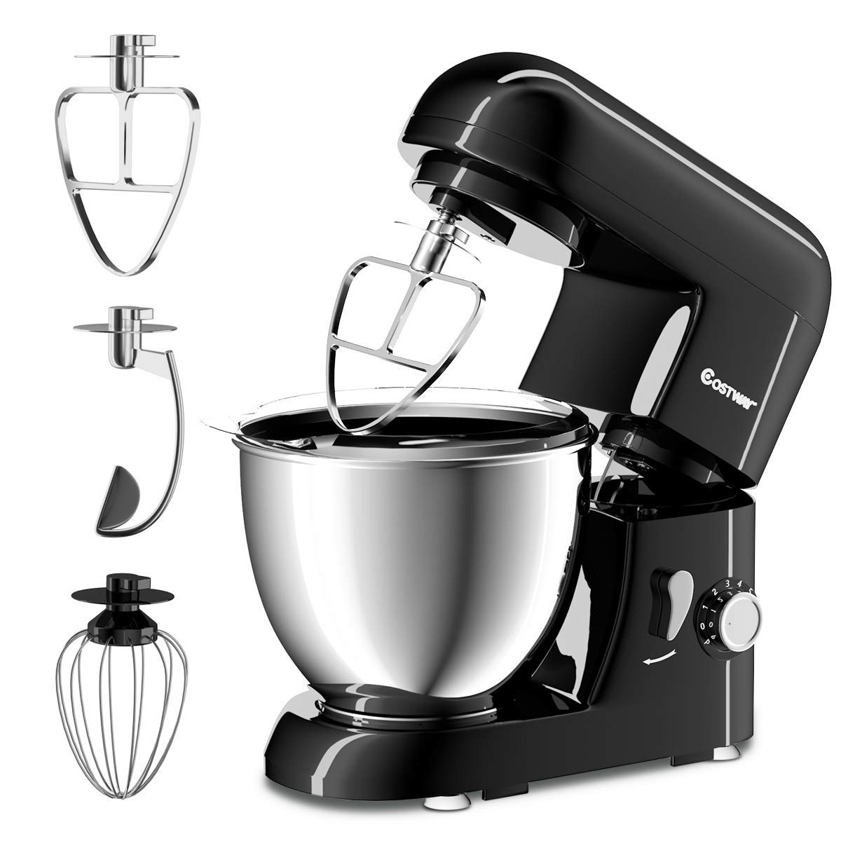 COSTWAY Stand Mixer 4.3 Quart 6-Speed 120V/550W Kitchenaid 3 Attachments Offer Tilt-head Electric Food Mixer w/Stainless Steel Bowl (Painted-Black) by COSTWAY